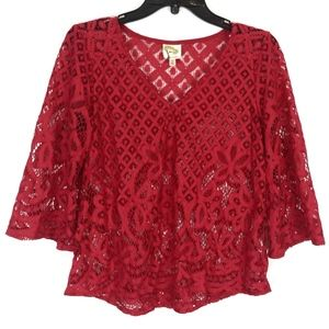 Fig & Flower Blouse Small Red Lace Floral V-Neck